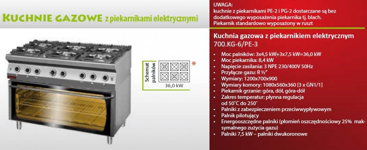 Kuchnia Gazowa 6 Palnikowa Z Piekarnikiem Elektrycznym 700 Kg 6 Pe