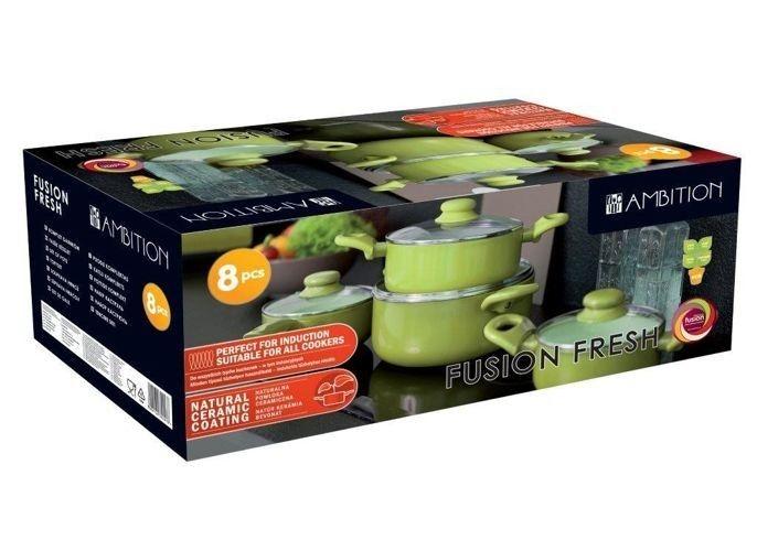 Komplet garnków z powłoką ceramiczną Fusion Fresh 8